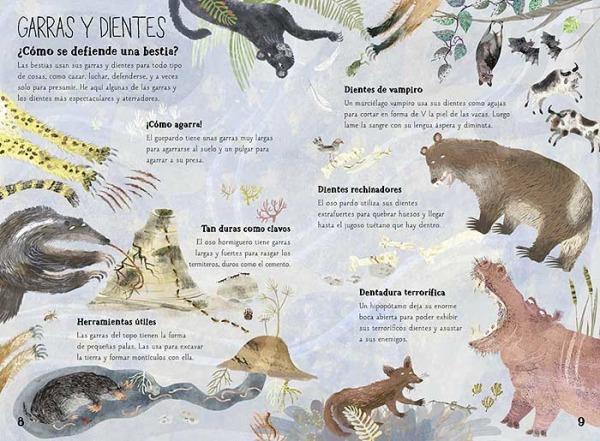 libro informativo animales salvajes bestias garras