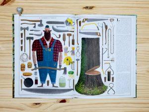 Libro informativo Arboles interior sobre los leñadores editorial maeva