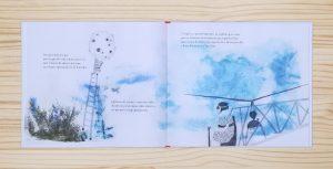 """Páginas interiores """"luna"""" del libro """"La Pluma"""", de Mario Satz y María Beitia, editado por Akiara Books"""