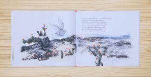 """Páginas interiores """"paloma"""" del libro """"La Pluma"""", de Mario Satz y María Beitia, editado por Akiara Books"""