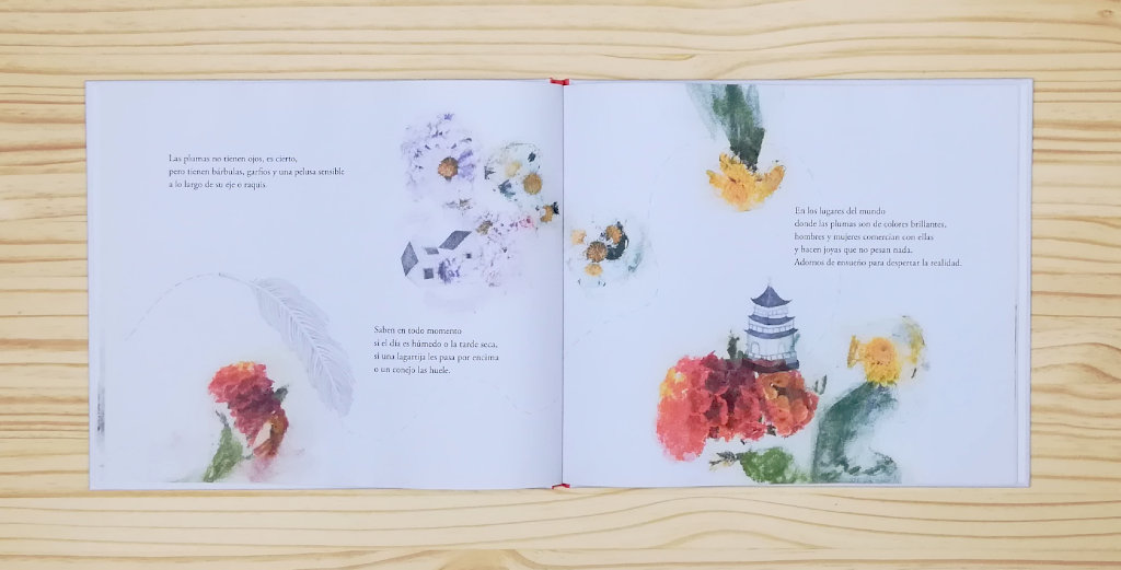 """Páginas interiores """"vuelo"""" del libro """"La Pluma"""", de Mario Satz y María Beitia, editado por Akiara Books"""