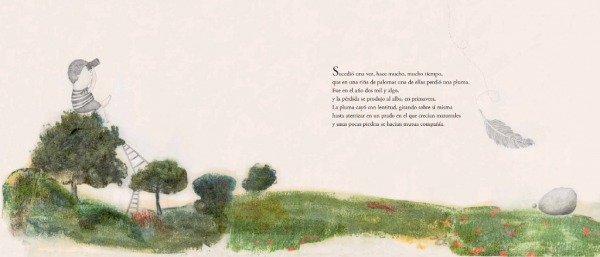 """Páginas interiores """"caida"""" del libro """"La Pluma"""", de Mario Satz y María Beitia, editado por Akiara Books"""