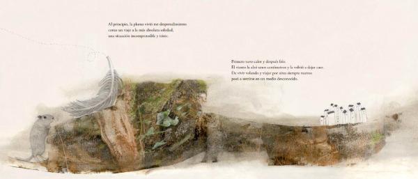 """Páginas interiores """"suelo"""" del libro """"La Pluma"""", de Mario Satz y María Beitia, editado por Akiara Books"""