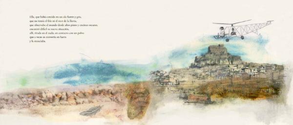 """Páginas interiores """"abandono"""" del libro """"La Pluma"""", de Mario Satz y María Beitia, editado por Akiara Books"""
