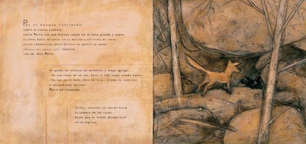 """Páginas interiores 1 del libr """"Zorro"""", editado por Ekaré"""