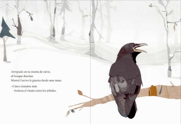 """Páginas interiores 2 del libro """"El secreto del abuelo oso"""", de Pedro Mañas (texto) y Zuzanna Celej (ilustración), editado por Kalandraka"""