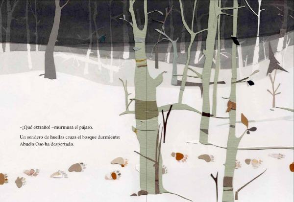 """Páginas interiores 3 del libro """"El secreto del abuelo oso"""", de Pedro Mañas (texto) y Zuzanna Celej (ilustración), editado por Kalandraka"""