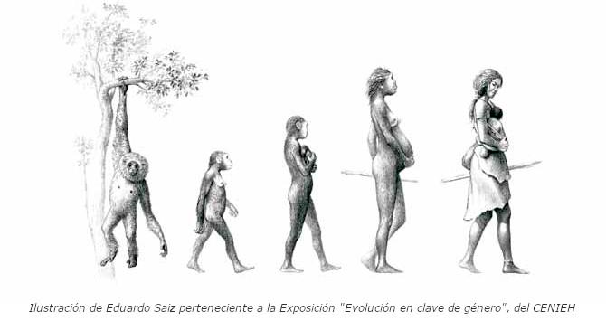 """lustración de Eduardo Saiz perteneciente a la Exposición """"Evolución en clave de género"""", del CENIEH"""