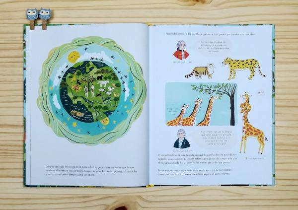 """Páginas interiores 1 del libro informativo """"El origen de las especies"""", de Sabina Radeva, editado por Harperkids y Patio"""