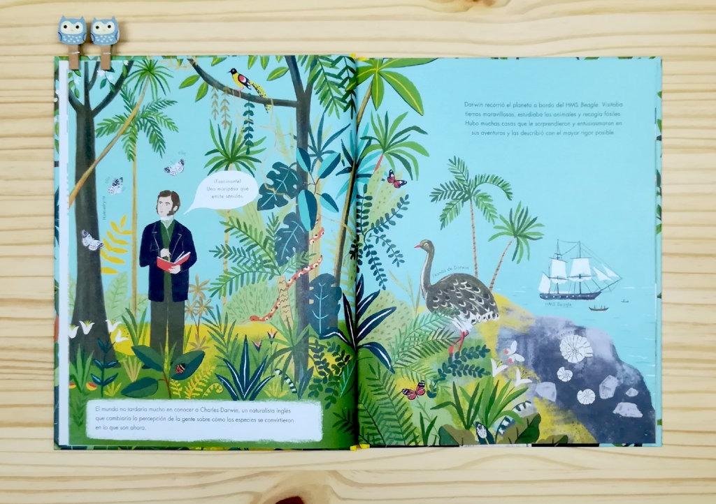 """Páginas interiores 2 del libro informativo """"El origen de las especies"""", de Sabina Radeva, editado por Harperkids y Patio"""