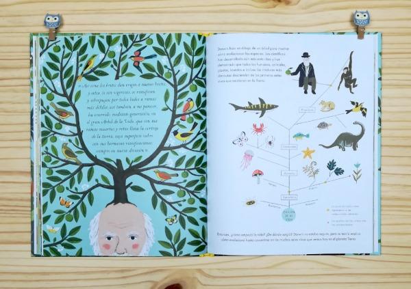 """Páginas interiores 5 del libro informativo """"El origen de las especies"""", de Sabina Radeva, editado por Harperkids y Patio"""