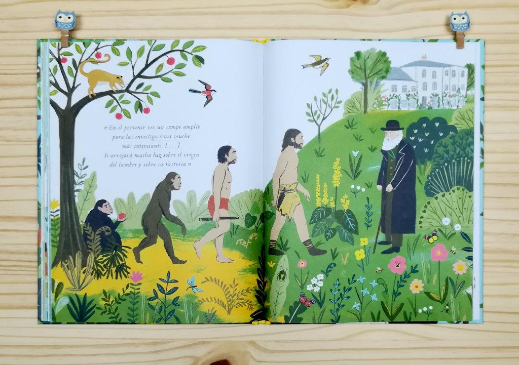 """Páginas interiores 7 del libro informativo """"El origen de las especies"""", de Sabina Radeva, editado por Harperkids y Patio"""