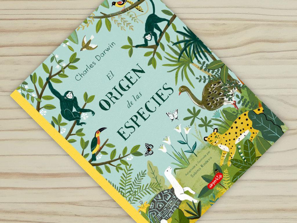 """Portada sobre fondo del libro informativo """"El origen de las especies"""", de Sabina Radeva, editado por Harperkids y Patio"""