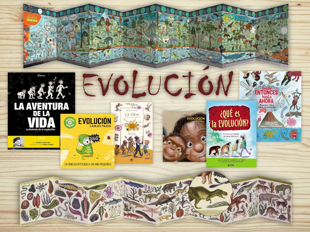 Recopilación de libros infantiles y juveniles sobre la evolución de la vida y del ser humano