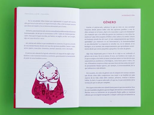 """Páginas interiores 1 del libro """"Imparables. Feminismos y LGTB+"""", de Pandora Mirabilia y Mar Guixé, editado por Astronave"""