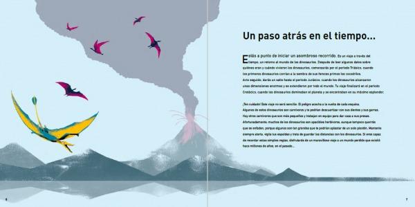 """Páginas interiores 2 del libro """"La era de los dinosaurios"""", de SteveBrusatte y Daniel Chester, editado por Siruela"""