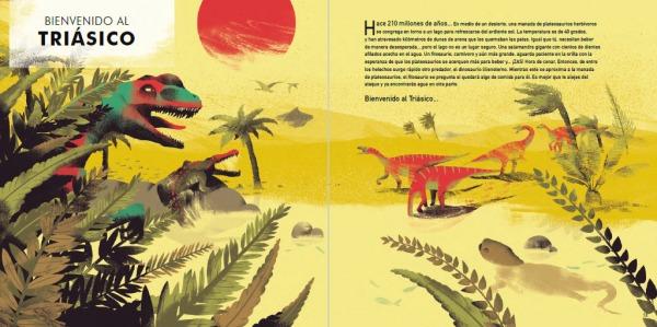 """Páginas interiores 5 del libro """"La era de los dinosaurios"""", de SteveBrusatte y Daniel Chester, editado por Siruela"""