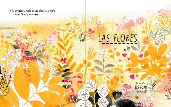 """Páginas interiores 3 del libro """"Mi vida de abeja"""", de Kirsten Hall y Isabelle Arsenault, editado por Libros del Zorro Rojo"""