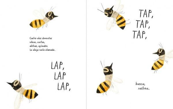 """Páginas interiores 1 del libro """"Mi vida de abeja"""", de Kirsten Hall y Isabelle Arsenault, editado por Libros del Zorro Rojo"""