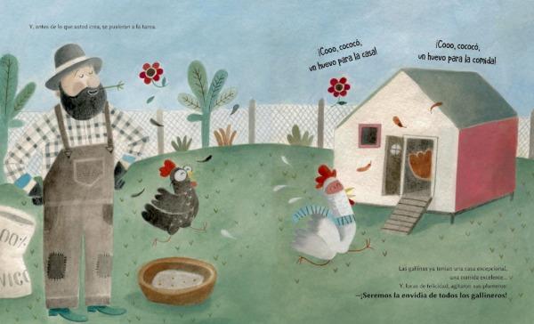Las-gallinas-ponedoras-Contraportada- Lucía Marín escritora, Cecilia Valera ilustradora editado por La Guarida