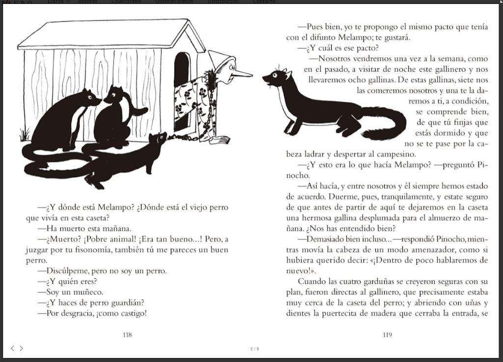 Interior del libro de Pinocho editado por gribaudo donde se aprecian las ilustraciones orinales deGiuseppe Riccobaldi